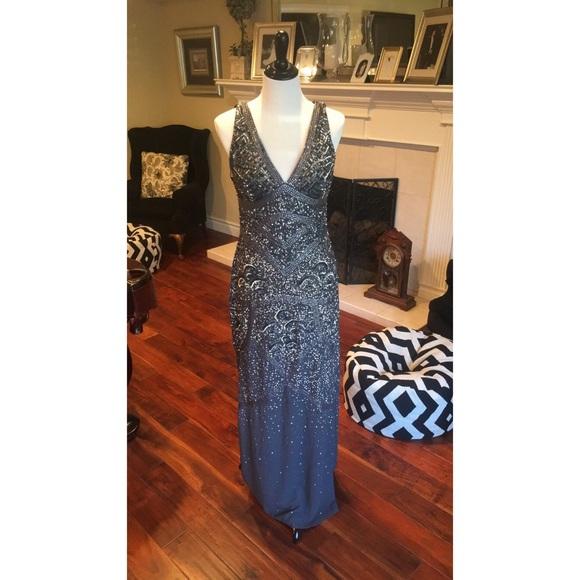 Aidan Mattox Dresses   Metallic Beaded Grey Sequin Gown   Poshmark